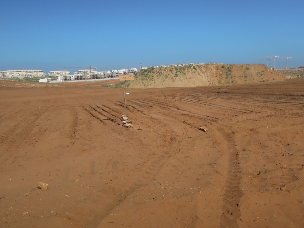 Figure 5: Back in 2013 the view from Tee 15 of Plage des Nations looked like this, with the most enormous pile of foundation spoil sitting on top of the fairway.