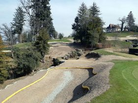 New Par 3 course at the Evian Resort Golf Academy - Hole 3 Greenside Bunker and looking back from Green 3 to Tee